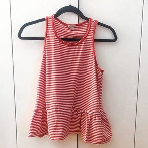 GAP Red and White Striped Peplum Tank Top